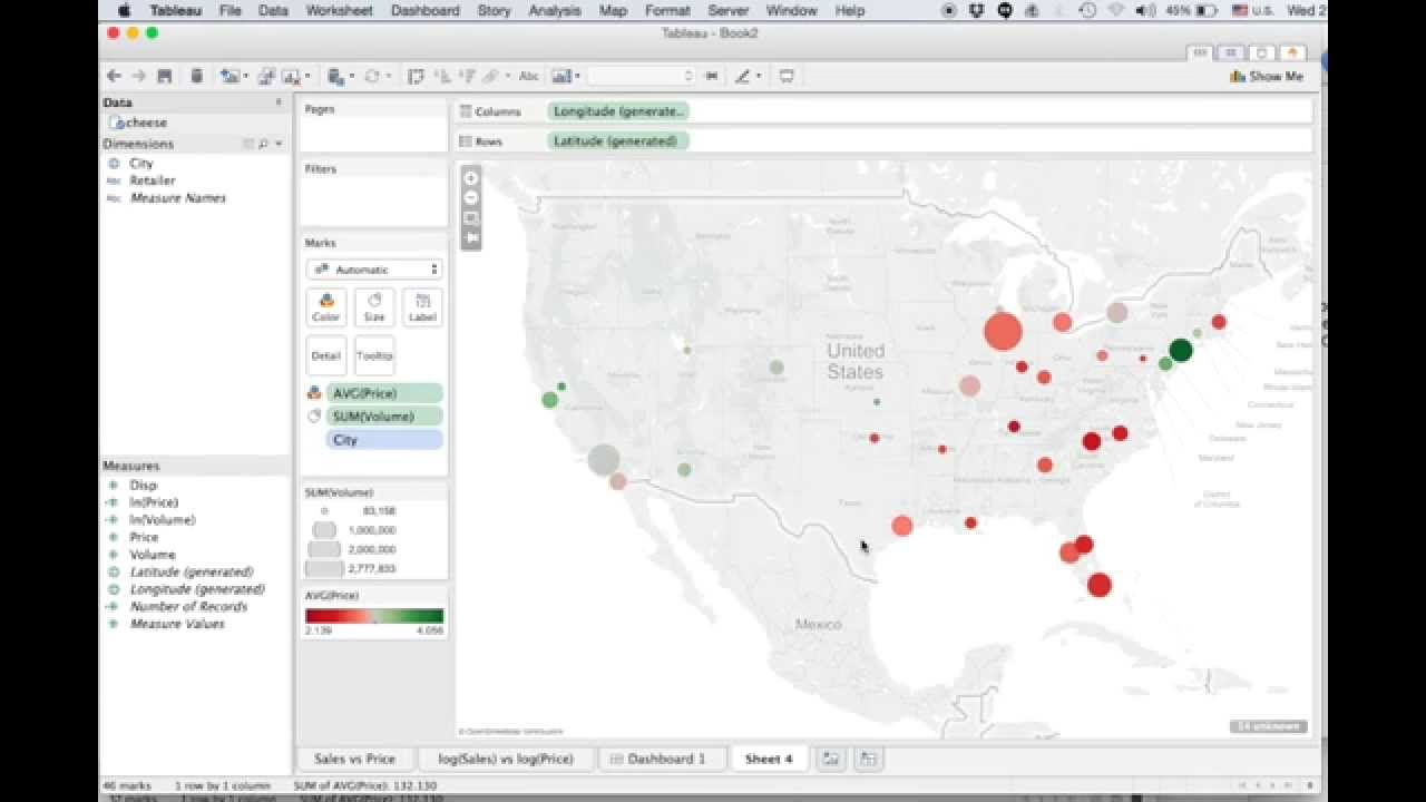 Mapping cheese data using Tableau software